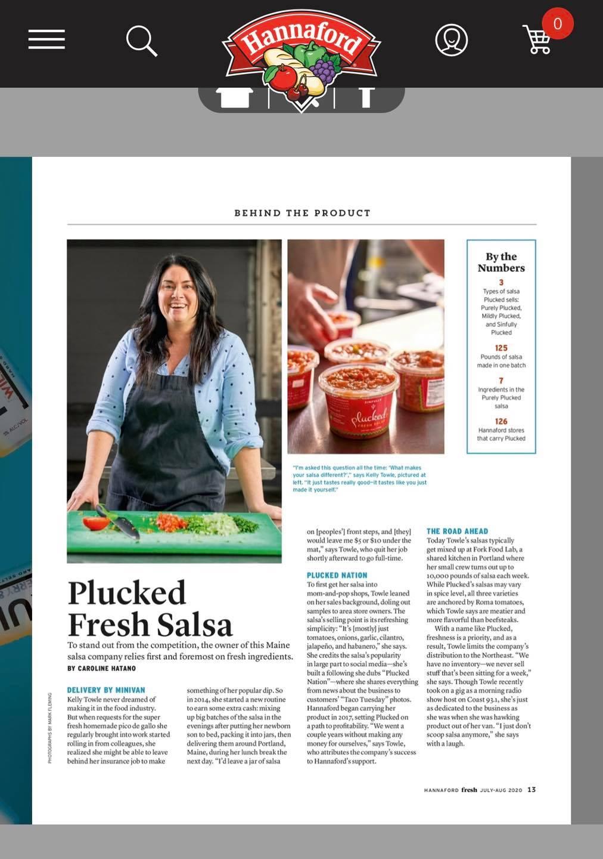 Plucked Salsa store in Hannafords Fresh Magazine