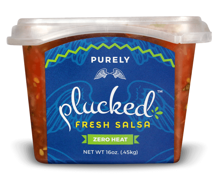 Purely Plucked Salsa Front Container